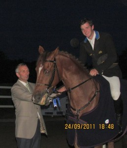 Leinster Chairman Charlie Murphy with Vincent Byrne winner of the Grand Prix in Barnadown