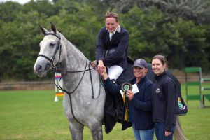 Winner of Mervue Equine Leinster Summer Tour at Wexford Equestrian: Tholm Keane - Future Storm - with Orla Roche (Wexford Equestrian) and Hilda Keane (Mervue Equine) (16/07/16)